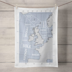 regions tea towel white wood